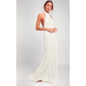 Lulus White Halter Maxi Dress